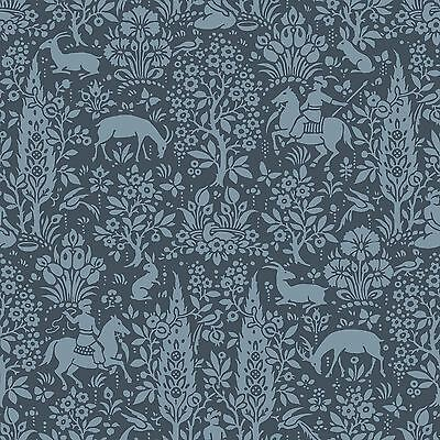 ARCHIVES WOODLAND WALLPAPER DARK BLUE - CROWN M1169 FLORAL FLOWERS