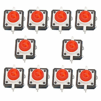10 X Led Tactile Push Button Switch Momentary Tact 12x12 4pin Round Cap Red