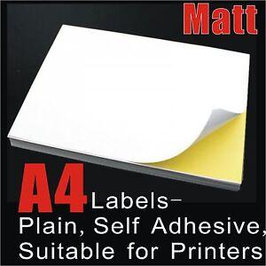 100 x A4 White Matte Self Adhesive Sticker Paper Sheet Label Laser Inkjet Print
