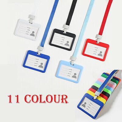 Lanyard ID Card Holder Pass Badge Pocket & Safety Neck Strap J-Clip Multicolour