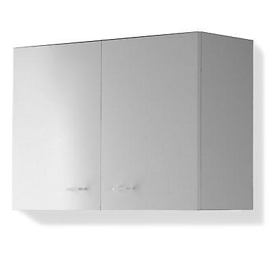 Pensile cucina doppio da 80 cm 2 ante con ripiano interno mobile finitura bianco