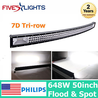 7D TRI ROW 50INCH 648W CURVED LED LIGHT BAR SLIM CAR OFFROAD BOAT SUV ATV JEEP
