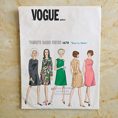 Vintage VOGUE Basic A Line Semi Fitted DRESS Pattern 1678 Size 14 Mostly UNUSED