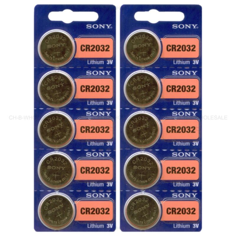 10 New Sony Cr2032 3v Lithium Coin Battery Expire 2027 Freshly New - Usa Seller