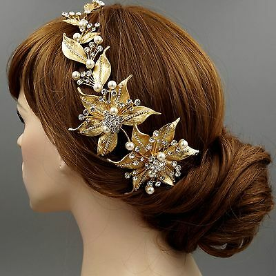 Crystal Pearl Flower Headband Headpiece Tiara Wedding Accessory 00407 Satin Gold