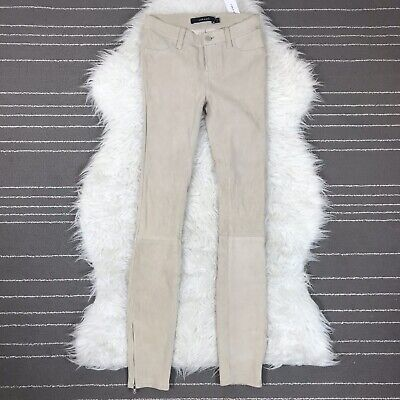 J Brand Stretch Suede Leather Skinny Pants Size 23 Beige Clay NEW $998