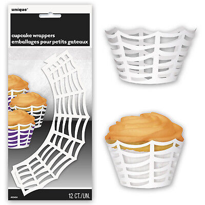 Spider Web White Paper Cupcake Cake Wraps Decorations (Spider Web Halloween Cupcakes)