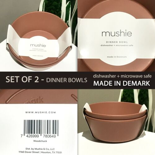 SET OF 2 New Mushie Woodchuck BPA Free Kids Dinner Bowls Caramel MADE IN DEMARK