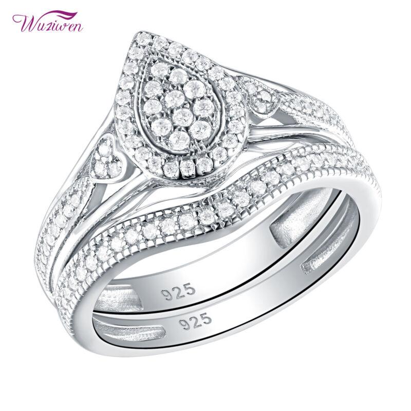 Wuziwen Engagement Wedding Ring Sets For Women Teardrop Sterling Silver Aaaa Cz