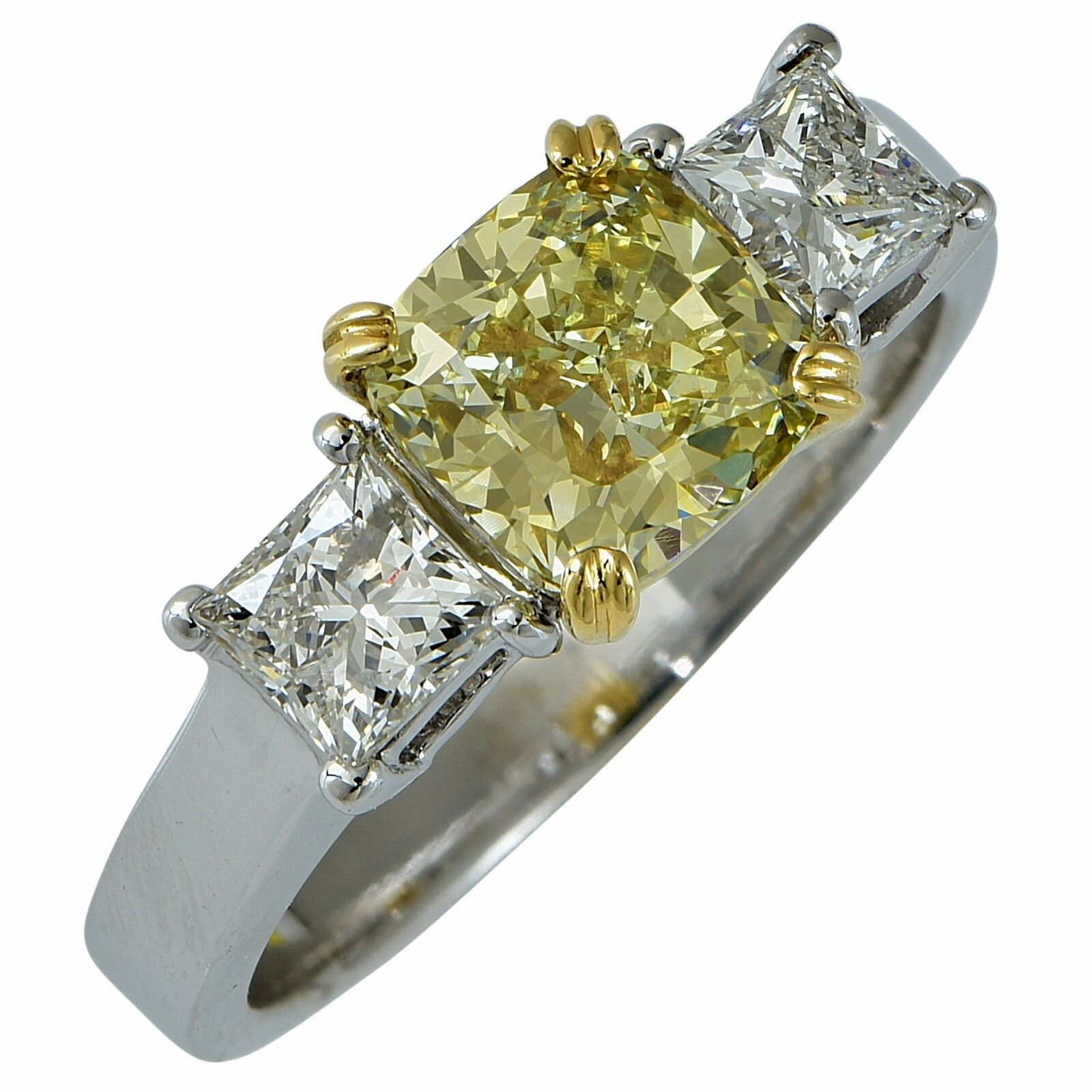 Beautiful GIA Certified Natural Fancy Color Yellow Diamond Engagement Ring