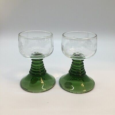 2 Vtg Roemer Cordials Green Beehive Stem Germany Etched 3