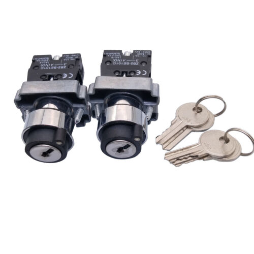 US Stock 2pcs XB2-BG21 2 Position N/O Locked Key Operated Selector Switch