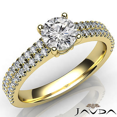 2 Row Shank French U Pave Round Diamond Engagement Ring GIA Certified E VVS1 1Ct