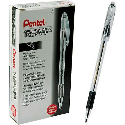New 12-pack Pentel R.s.v.p. Ball Point Pen 1mm Medium Line Black Ink Bk91-a