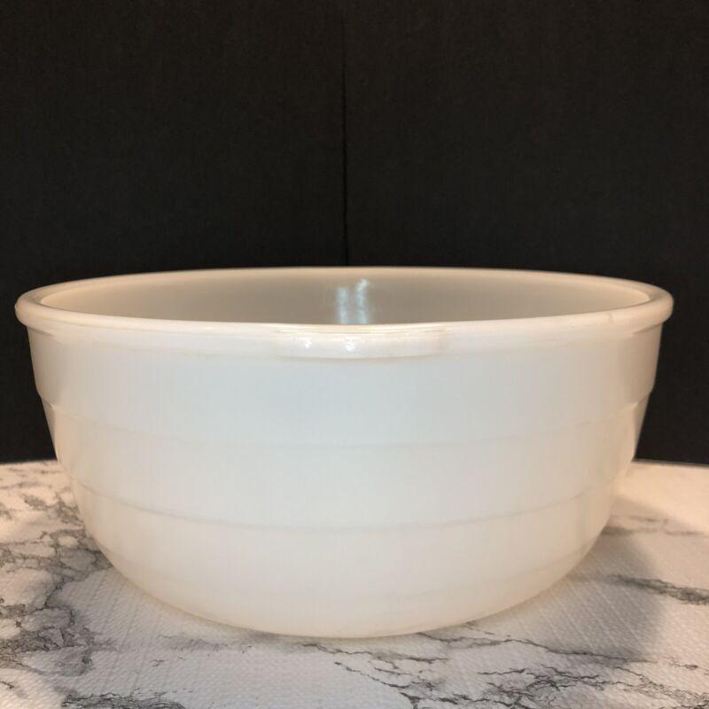 "Vintage GE General Electric Milk Glass 9.5"" Mixer Bowl White Ribbed NICE"