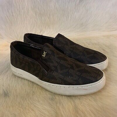 Michael Kors Womens Keaton Low Top Slip On Fashion Sneakers, Brown, Size 8B 38.5