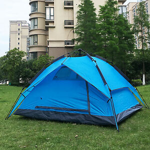 Instant Automatic Pop Up Backpacking Camping Hiking 3-4Persons Tent Blue