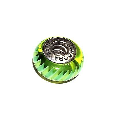 Authentic PANDORA Green Zigzag Sterling Silver Murano Glass Bead Charm Retired