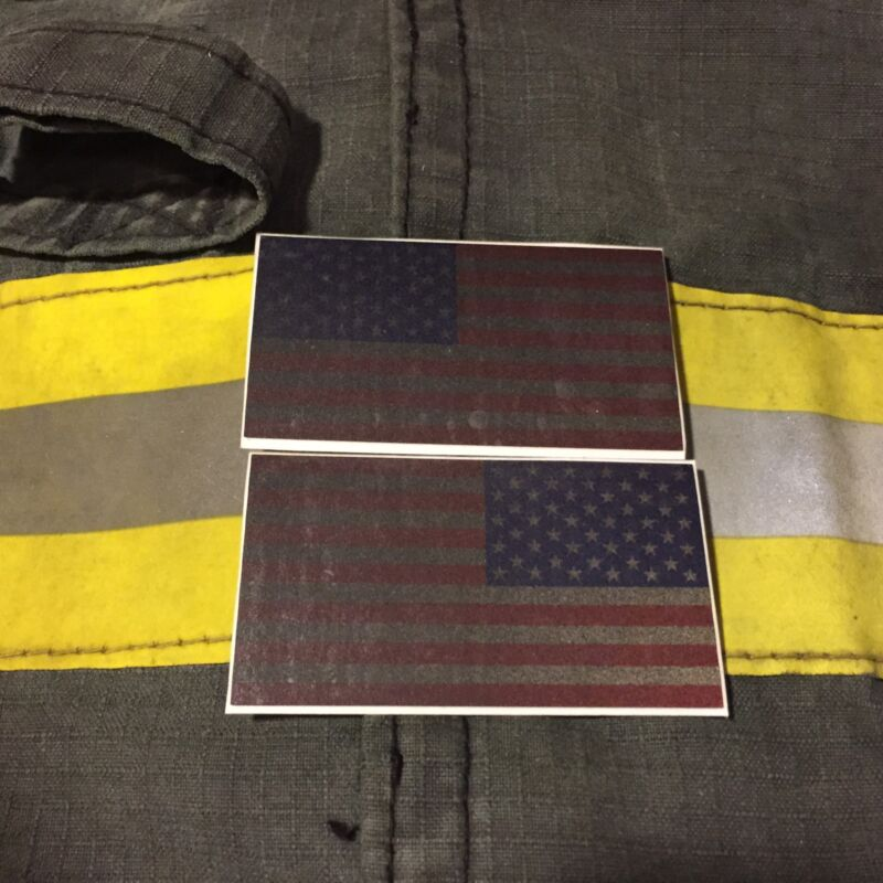 """Reflective Subdued American Flags RWB Mirrored 3""""- FIREFIGHTER HELMET STICKER"""