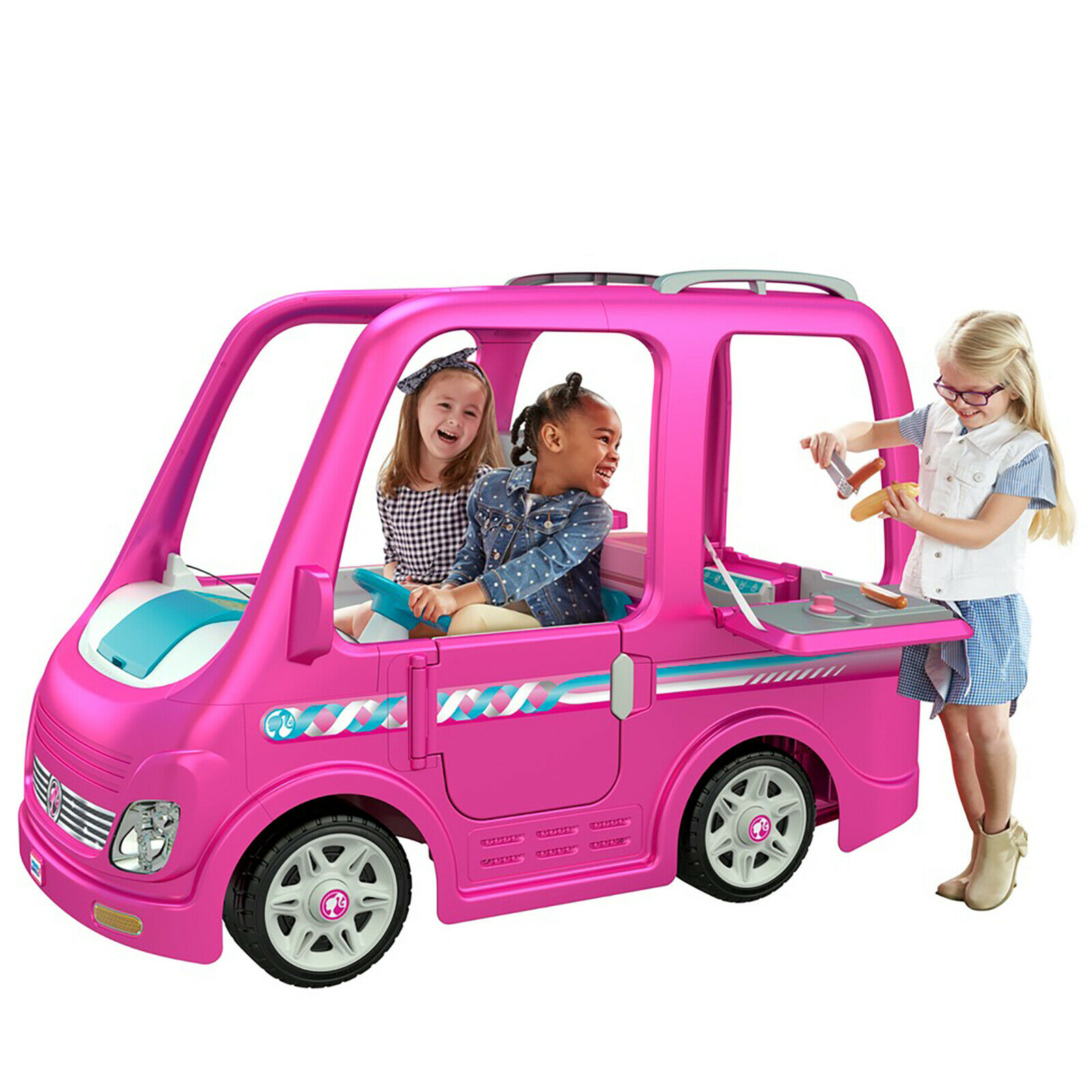 power wheels barbie cadillac hybrid escalade ext ride on pink for sale online ebay barbie dream camper rv power wheels battery power ride on girls car pink toy 12v