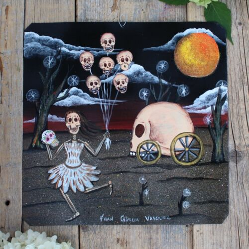Day of the Dead Tin Retablo Skeleton & Lg Skull on Wheels Oaxaca Mexico Folk Art