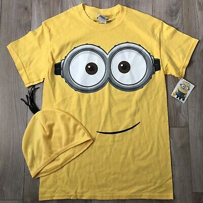 NWT Minion Adult Small Tee Shirt And Cap Costume Shirt Party (Minion Costume Shirt)
