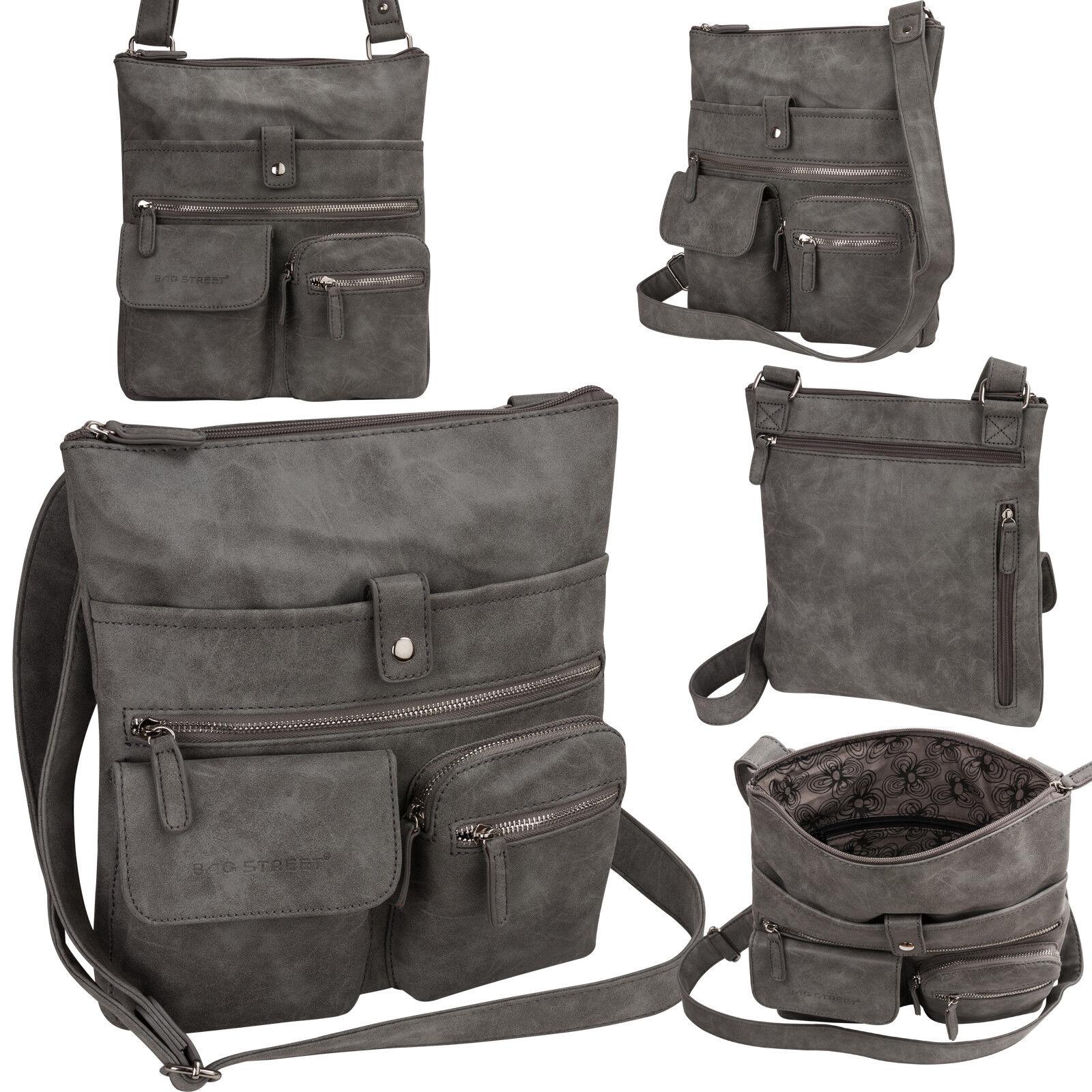 Bag Street Damentasche Umhängetasche Handtasche Schultertasche K2 T0100 Grau