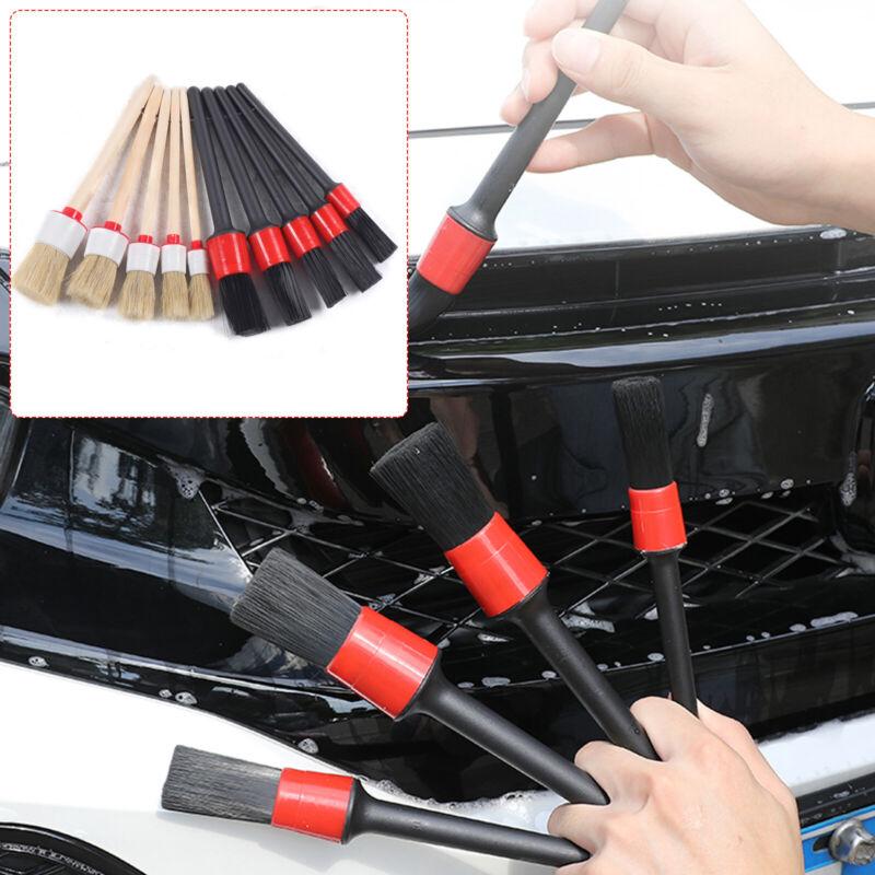 10Pcs/Set Detailing Brushes 5 Plastic + 5 Hog Hair Brushes Automotive Clean Tool