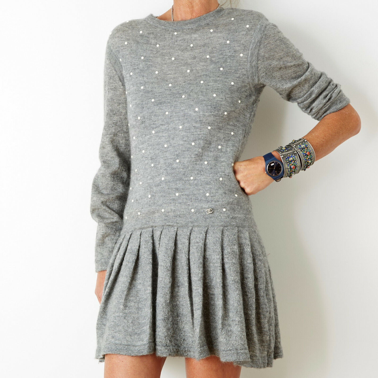 Chanel robe dress grey cashmere pearls fr38