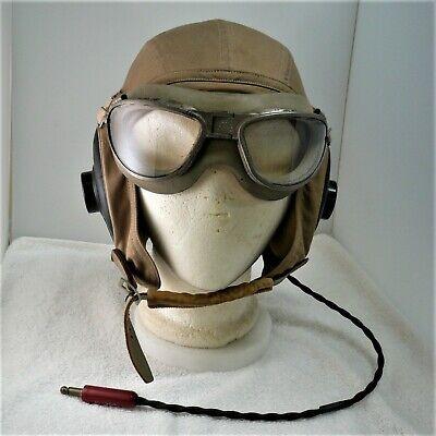 WWII USN Navy Khaki Summer Flight Pilot Goggles & Helmet ANB-H-1A Receivers