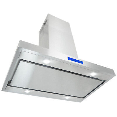 "36"" Island Mount Stainless Steel Touch Panel Kitchen Range Hood Cooking Fan"