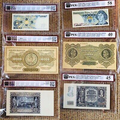 Billets Polonais 20,1000,10000zl GRANDING