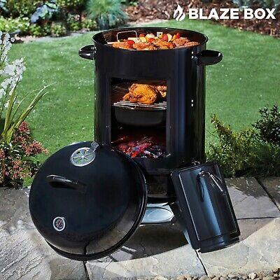 Blazebox Garden Charcoal BBQ Smoker Outdoor Portable Barrel Barbecue Grill NEW