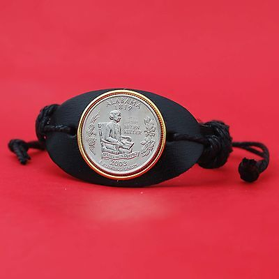Alabama State Coin - US 2003 Alabama State Quarter BU Coin Genuine Leather Cuff Bracelet NEW