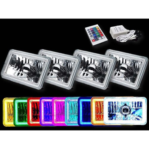 "4X6"" RGB LED COB Color Change Halo Crystal Headlight Lamp Bulb Headlamp Set Used"