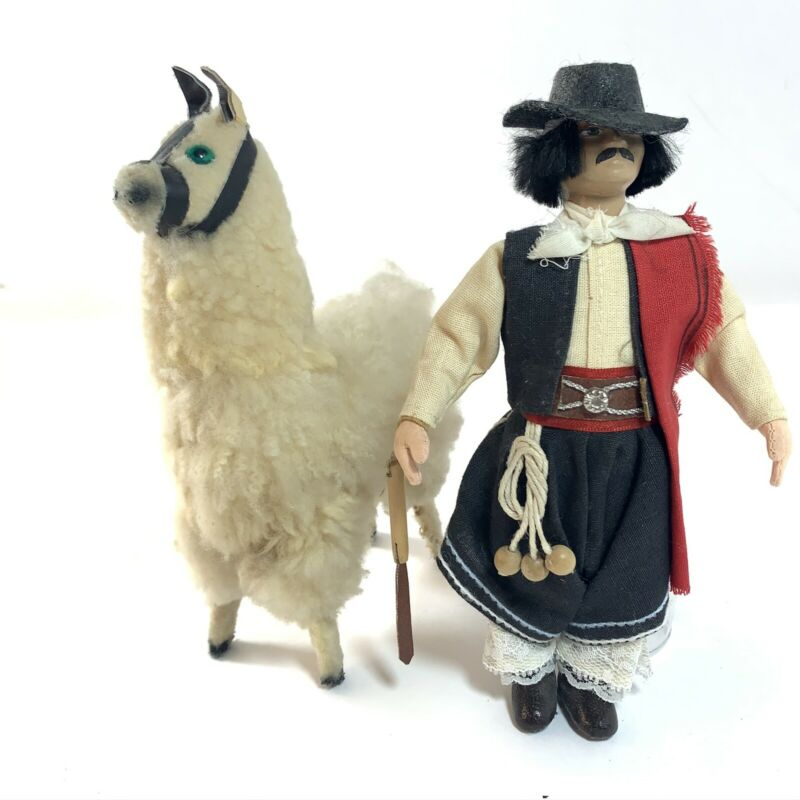 "Vintage Llama / Alpaca AND Herder Figures Fur Felt Cloth 8"" Hand Made Detailed"