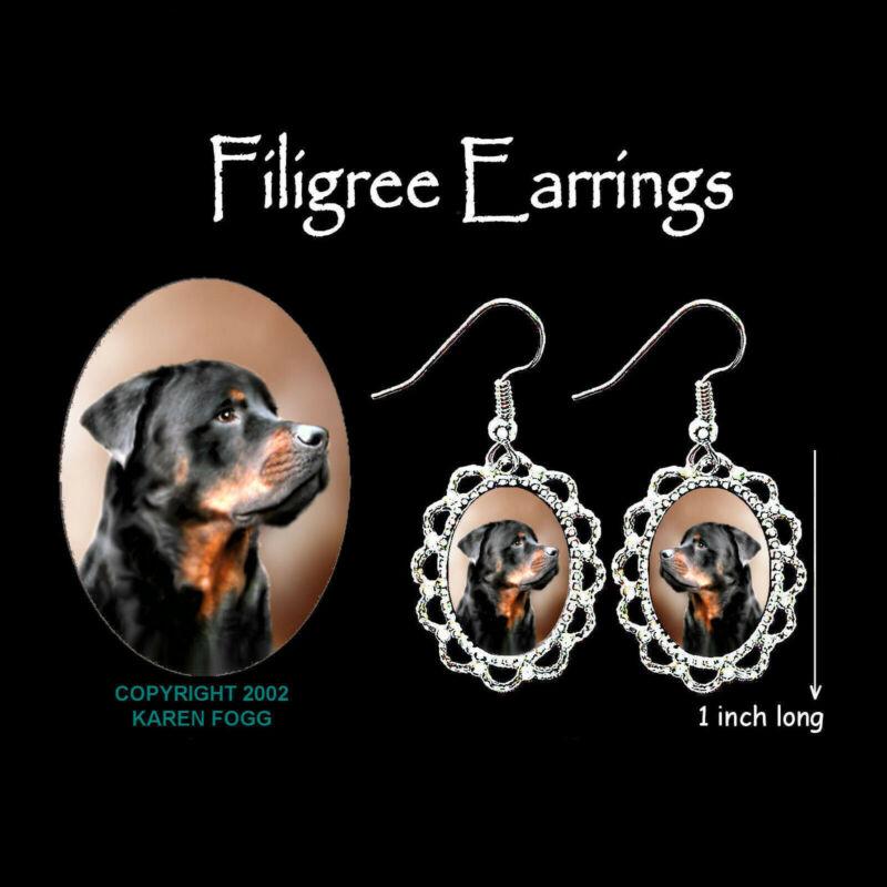 ROTTWEILER DOG - SILVER FILIGREE EARRINGS Jewelry