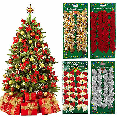 24X Bowknot Xmas Tree Ornament Bow Hanging Decoration Christmas Gift DIY Decor A ()