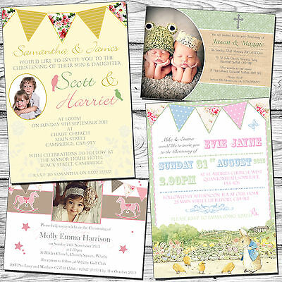 10 Joint Party Invitation First Birthday Christening Naming Day Baptism Boy Girl