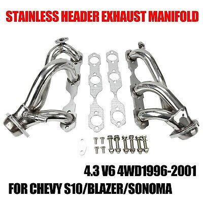 STAINLESS HEADER EXHAUST MANIFOLD FOR 96-01 CHEVY S10/BLAZER/SONOMA 4.3 V6 4WD