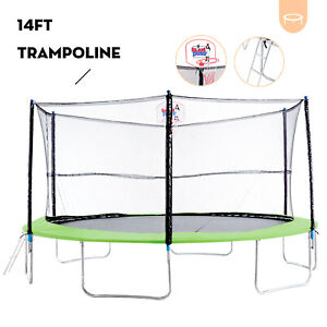 14FT Round Trampoline Combo w/Safety Enclosure&Spring Pad&Basketball Hoop&Ladder