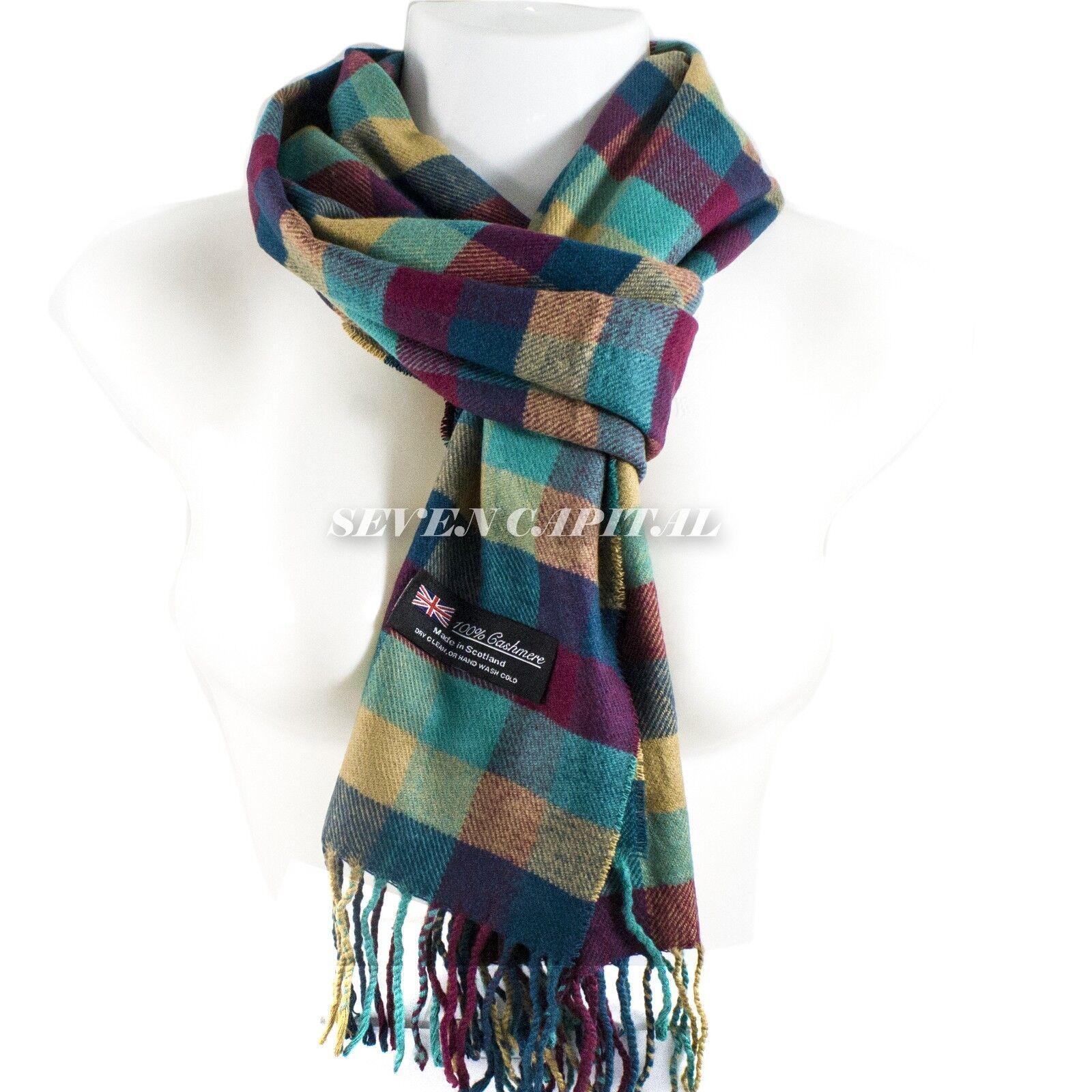 Mens Womens Winter Warm SCOTLAND Made 100% CASHMERE Scarf Scarves Plaid Wool 3. Plaid: Red/Purple/Blue/Beige