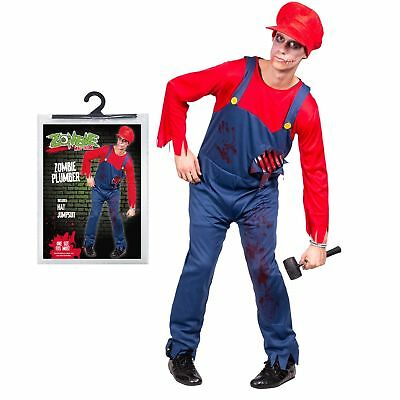 Halloween Herren Einheitsgröße Zombie Mario Klempner Kostüm Party - Mario Halloween Kostüm