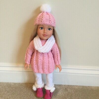 Hand Knitted Clothes Jumper Hat And Cowl For Design A Friend &18in Dolls
