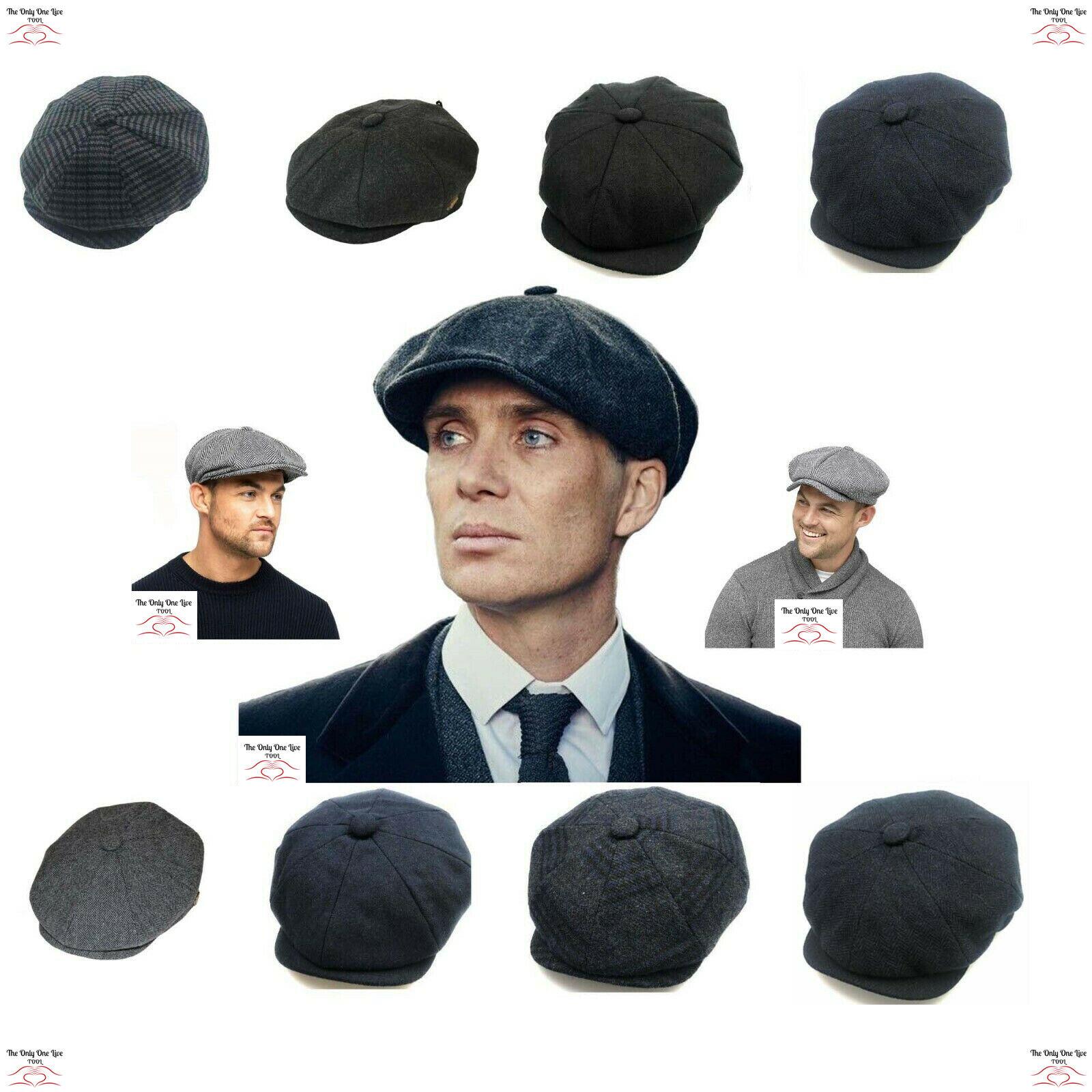 Official Maz Wool Newsboy Bakerboy 8 Panel Flat Cap Black 5 Sizes