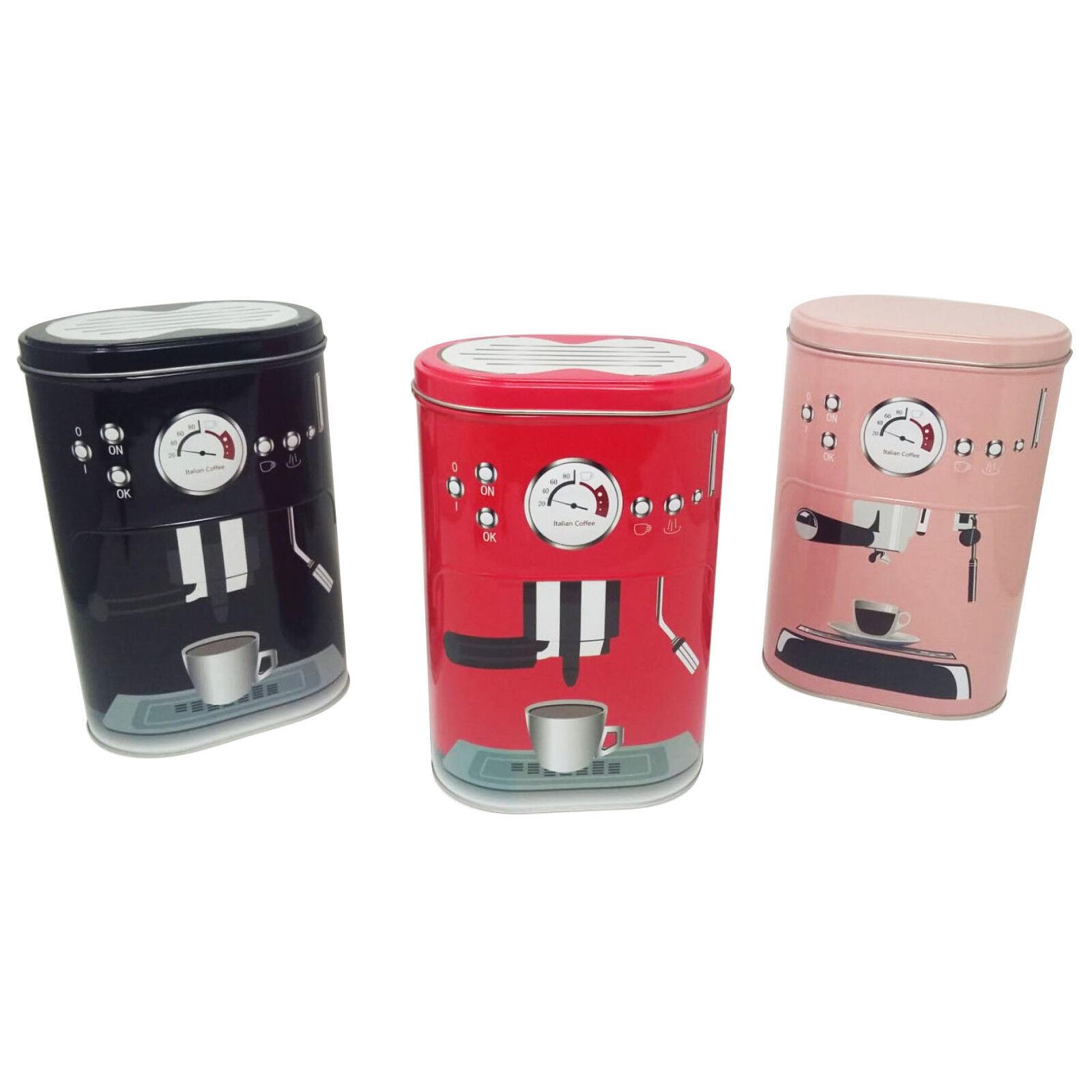 Set 2 barattoli contenitore caffè in latta 3 varianti colore 20x13x8cm e 18x11x7