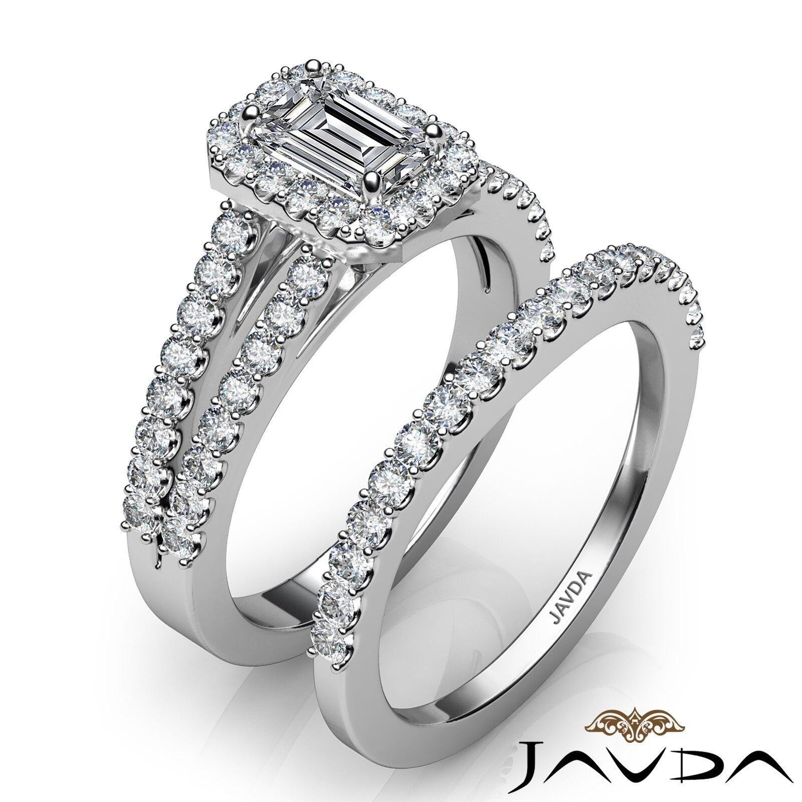 1.75ctw Halo Sidestone Bridal Emerald Diamond Engagement Ring GIA H-VS2 W Gold 2