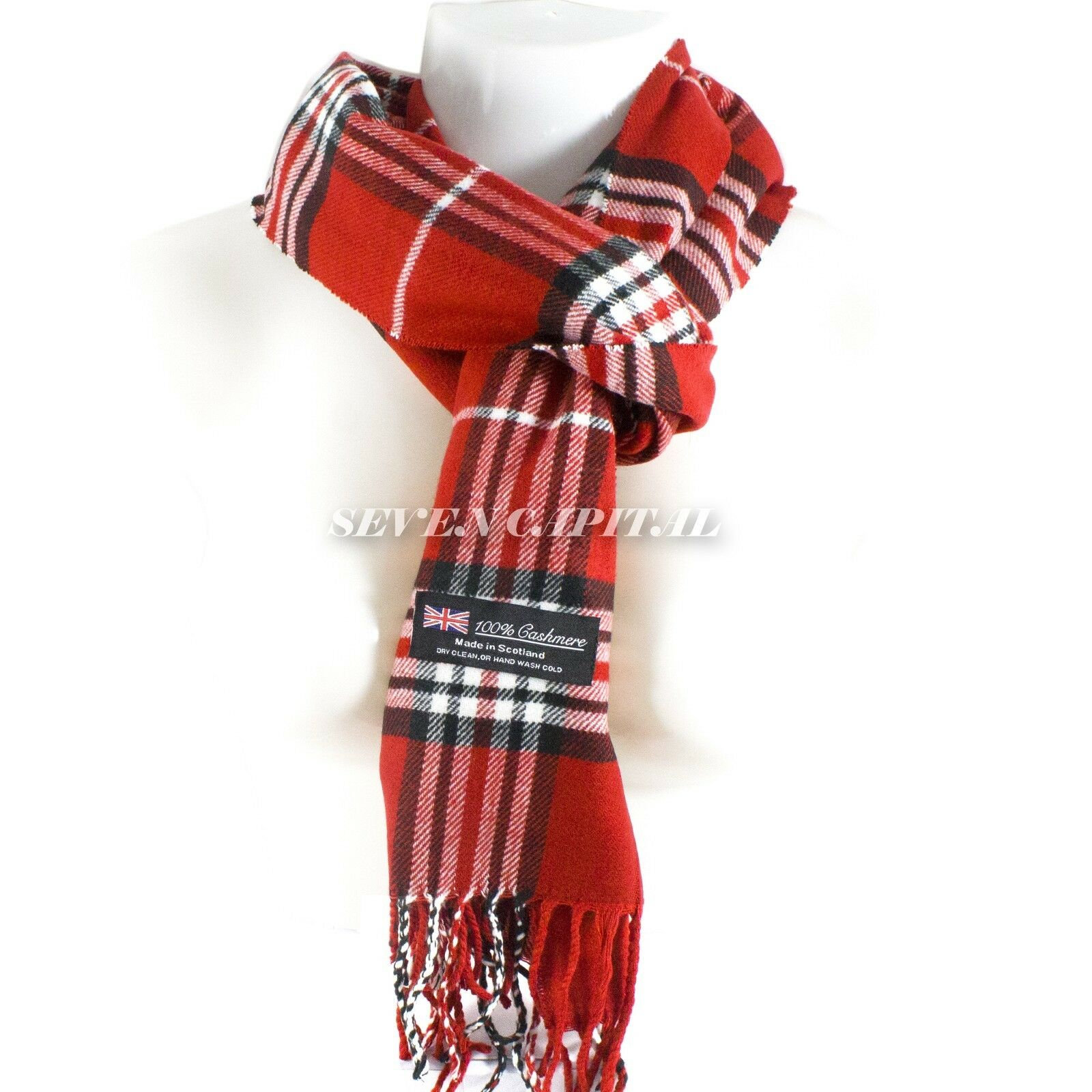 Mens Womens Winter Warm SCOTLAND Made 100% CASHMERE Scarf Scarves Plaid Wool 7. Plaid: Red/White/Black