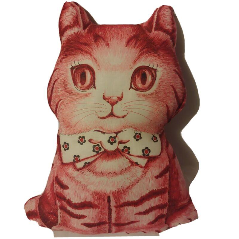 "New Vintage Homemade Charlie The Cat Print Fabric 15"" Pillow EUC Adorable Plush"