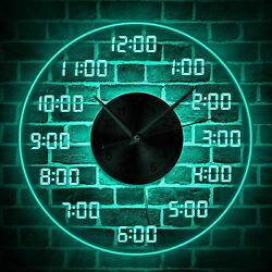 LED Wall Clock 12 Inch Large Number Mute Digital Remote Control Home Decor